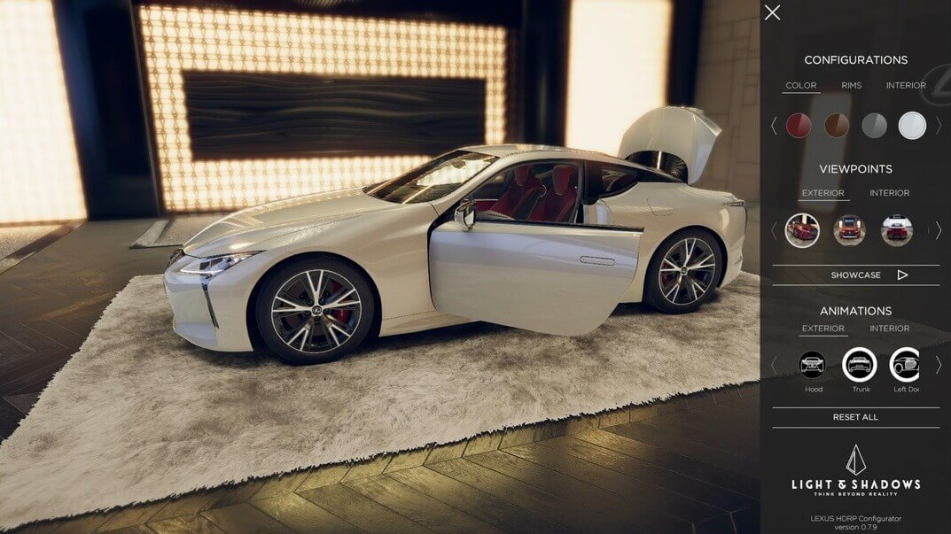 Lexus 3D car configurator by Light & Shadows
